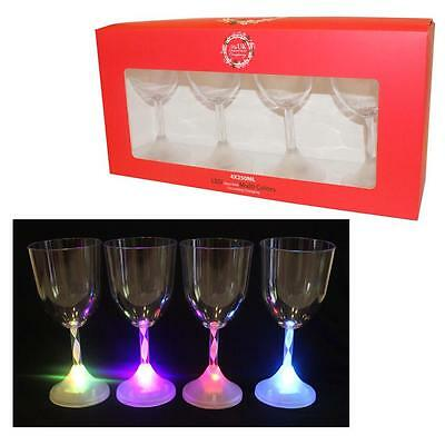 4 Pack Christmas LED Light Up Colour Changing Plastic Wine Glasses