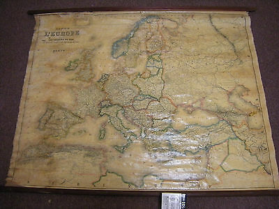 Vintage / Antique French Map of Europe with Maritime Routes - Made in Paris
