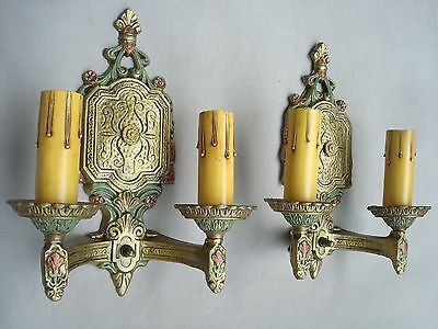 Pair of Cast Aluminum Sconces by PARAMOUNT, Double Candle, Refinished, Rewired