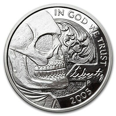 2016 1 oz Jefferson Skull Silver Round Hobo Nickel Series with COA