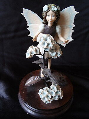 Porcelain Winged Fairy Girl Figure Limited Edition On Base Floral