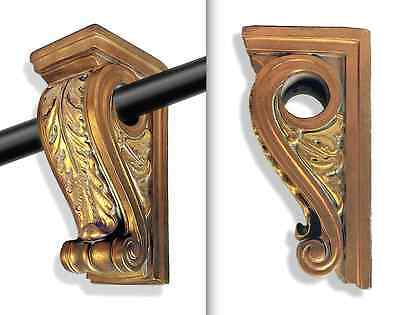 Curtain Rod Holders Corinthian Capital Design + Hollywood Regency Style • 1960s