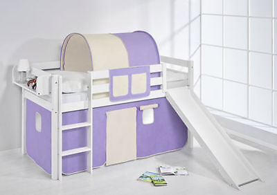 Play Bed Loft bed Kid's bed Children Bed JELLE with Slide 190x90 cm + Curtain