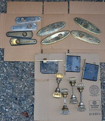 15 piece vintage glass door knob set with brass base ends and door plates