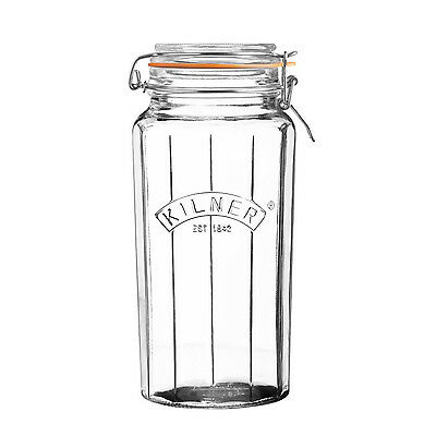 Kilner 1.8 Litre Faceted Glass Spices Sauce Food Storage Preserve Clip Top Jar