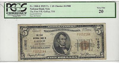 1929 Ty.1 FNB GALLUP, NM**CHARTER #11900**PCGS: VERY FINE 20**ONLY 17 KNOWN**HBE
