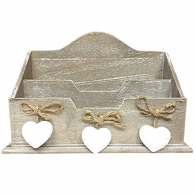 Distressed Heart Wooden Letter Rack Storage with 2 Compartments in Natural Brown
