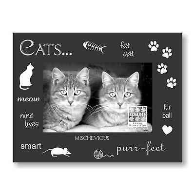 Cat Photo Frame, Pet Picture Frame, Black w Silver Print Expressions by Sixtrees