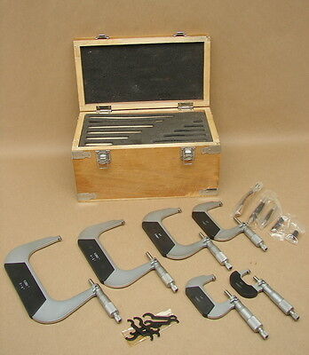 """0-6"""" Machinist Mechanical Outside Micrometer Set Tools In Wood Box"""