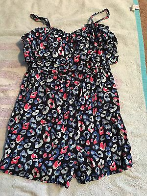 Justice Blue Floral Romper One Piece Size 16