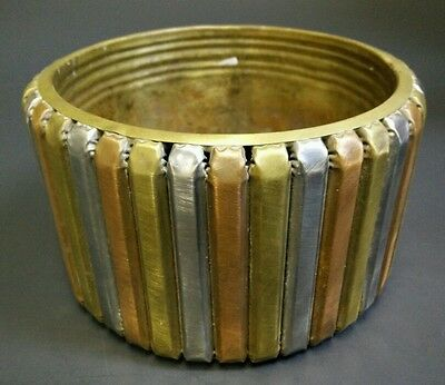 "Copper Brass Aluminium Pot Flower Pot Garden Planter 7"" x 4"" Vintage Outdoor"