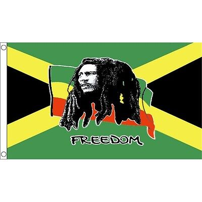 3 x 2' Bob Marley Freedom Flag - (jamaica) 3ft 2ft Metal Eyelets