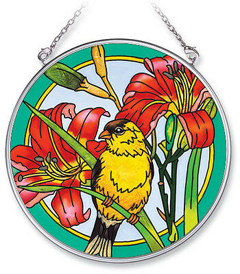 "Goldfinch Lily Sun Catcher Flowers Hand Painted Glass 4 1/2"" Diameter Amia New"