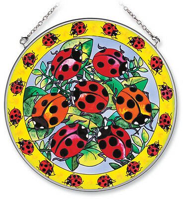 """Ladybugs Sun Catcher Hand Painted 6 1/2"""" Round Amia Ladies in Red New"""