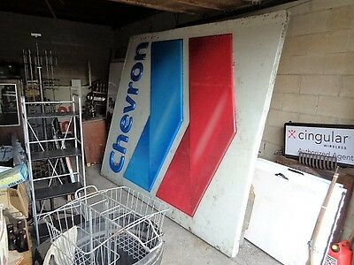 Huge 8' X 7' Older Chevron Oil Gas Station Sign