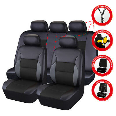 Universal Leather Car Seat Covers Truck SUV Car Seat Cover Set Black Breathable