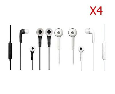 4 Pack S3 Earphones  Mic Volume for Samsung Galaxy  S6 S7 Black and 2 White