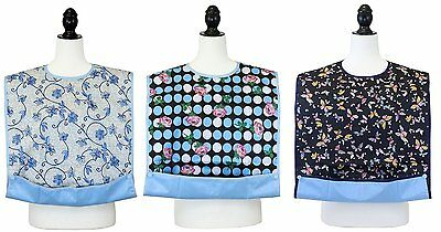 JustCare 3 Pack Adult Bib Protector Waterproof Backing & Crumb Catcher