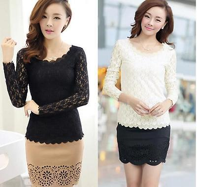 Women Top Stretch Ladies Long Sleeve Lace Blouse O-neck Casual  T-Shirt