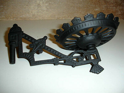 Ornate Antique Cast Iron oil hurricane lamp swing arm and holder (2)