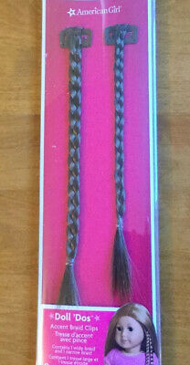 NIP American Girl Doll Do's Accent Braid Clips - Brown Color - 2 braids