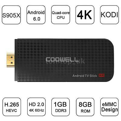 COOWELL V5 Android 6.0 TV Dongle Stick Quad-Core Mini PC 4K WiFi H.265 D2H9