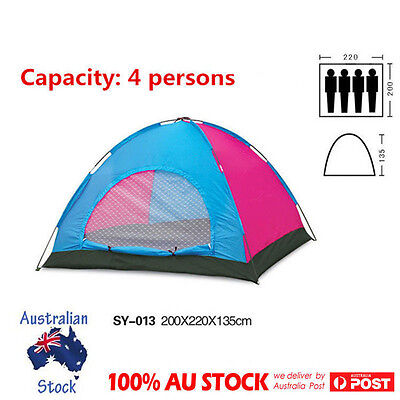 4 Person Portable Pop Up Tent Large Camping Beach Shelter Canopy Waterproof New