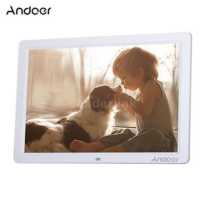 "Andoer 15"" HD LED Digital Picture Frame Album Electronic Photo Frame Clock White"