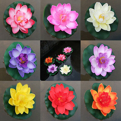 1PC Artificial Lotus Floating Water Lily Flower Plants Home Decor Pond Display