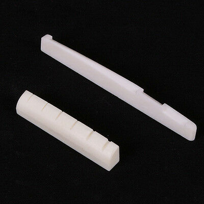 2x Faux Saddle & Slotted Nut for 6 String Acoustic Guitar AUFT