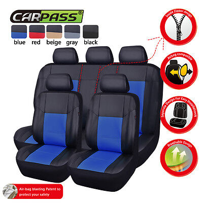 Universal Leather Car Seat Covers Blue Breathable Airbag Fit Toyota Mazda Holden
