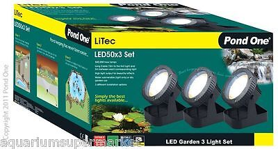 LiTec 50 x3 LED Garden Pond Light 12V 15W & Transformer