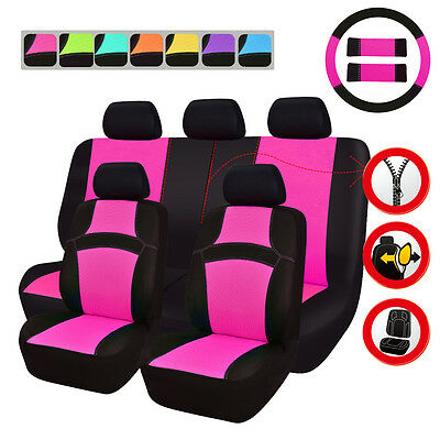 Universal Car Seat Covers Pink For Women Girls Airbag Ready Rear Split Seat 4060
