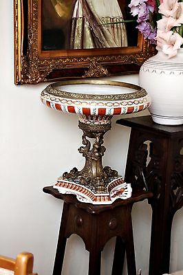 Antique Large French Victorian Porcelain and Bronze Fruit Vase