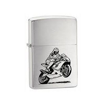 Brushed Chrome Motorcycle Zippo Lighter - Pocket Gift Present Smokers Accessory