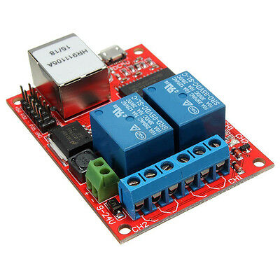 LAN Ethernet 2-Way Relay Board Delay Switch TCP UDP Controller Module WEB Server