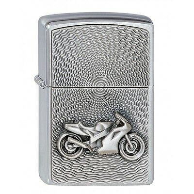 Brushed Chrome Motorbike Emblem Zippo Lighter - Smokers Gift Present Accessory