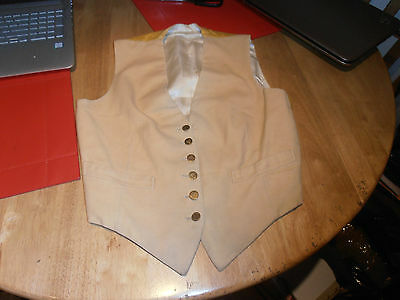 1930s Ladies Buff Hunting Waistcoat with Elington Hunt Brass  Buttons Size 34""