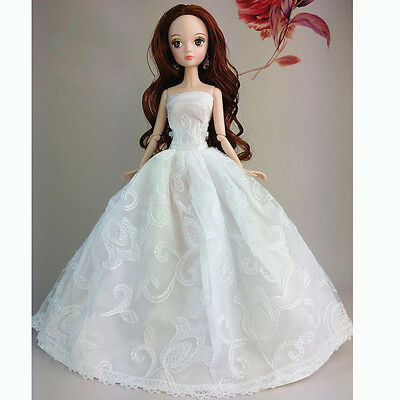White Fashion Wedding Gown Dresses Clothes Party For Barbie Doll Gift