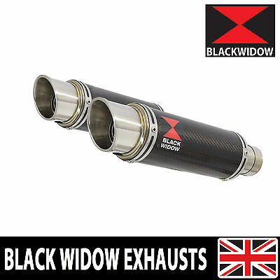 Black Widow Twin Carbon Exhaust Silencers End Cans 230Mm Gp Style Slip On 230Cr