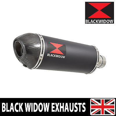 Black Widow Black Stainless + Carbon Tip Exhaust Silencer End Can Slip On 300Bt