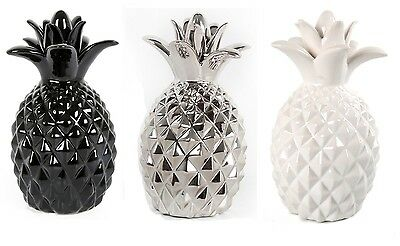 Black Silver Glazed Pineapple Fruit Ceramic Modern Ornament Figure Decoration