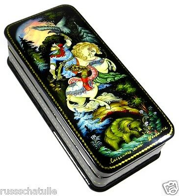 """Falkenjagd"" Russische Lackmalerei Schatulle Russian lacquer box Lackdose Palekh"