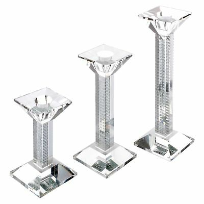Mirrored Glass Square Pillar Candle Holder Candlestick Sparkle Design In 3 Sizes