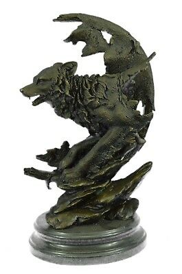"16""x10"" Bronze Sculpture Celtic Moon Wolf Hot Cast Statues Figurine Gifts ad"