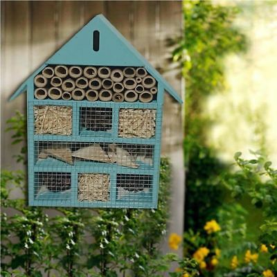 Wooden Blue Insect Bugs Garden Hanging Hotel Home Bees Ladybird Nest Box House
