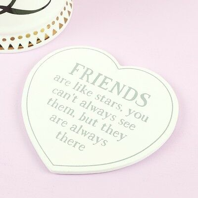 Sass and Belle 'Friends are Like Stars' Wooden Heart Coaster