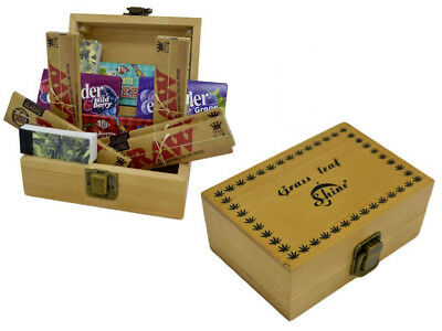 Grassleaf Wooden Rolling Box Gift Set, Raw King-size, Roach Tips, Rizla papers