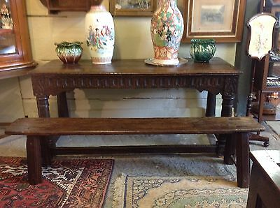 STUNNING RARE OAK & ELM COUNTRY SIDE BENCH 6ft LONG CIRCA MID 1700s