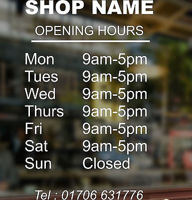 A4 Personalised Custom Printed Opening Hours Times Shop Window Sign Sticker
